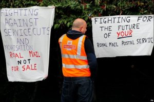Banners from a previous picket line at the old Bishop Street office. From the BBC website