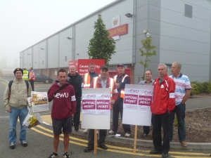 CWU members at the Coventry North office on strike earlier this year