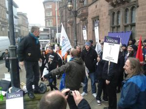 Dave Nellist speaking on a Anti-Council Cuts Protest