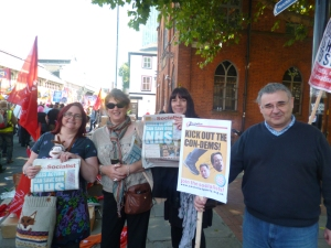 Jane Nellist (second from left) on a previous demo in defence of the NHS