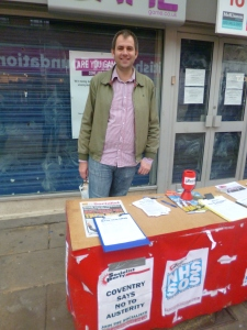 Richard Groves campaigning against NHS cuts