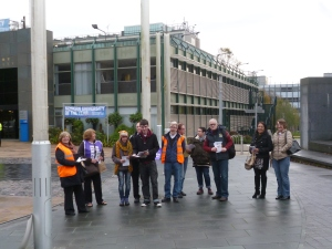 Picket near the Alan Berry Building at Coventry University