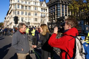 Dave Griffiths being interviewed by Channel 4