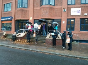 Picket at Sheriff's Court in Coventry
