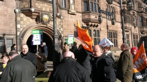 Members of Unison, GMB and Unite outside the Council House today