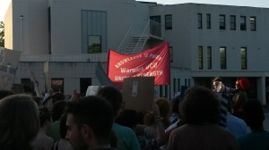 UCU banner on the protest