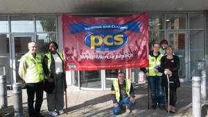 PCS picket line at Sherbourne House in Coventry