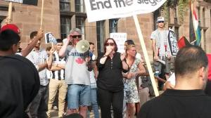 Nicky Downes from the NUT speaking outside the Council House