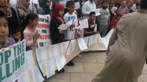 The names of children murdered in Gaza were read out