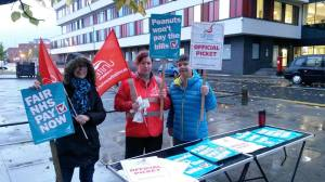 Unite picket at the Coventry NHS walk-in centre this morning