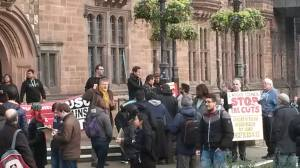 Protestors outside the Council House