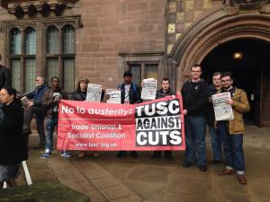 Trade Unionist and Socialist Coalition and Socialist Students campaigning against cuts