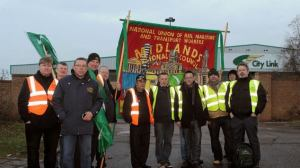 City Link workers and RMT activists on the protest