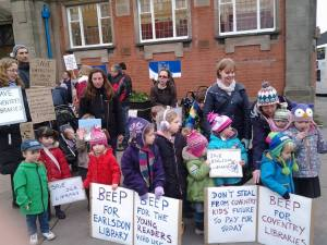 Protesters outside Earlsdon Library