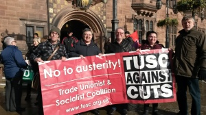 TUSC supporters protesting outside the Council House (Rob McArdle left, Sarah Smith right)