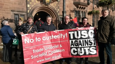 TUSC supporters protesting outside the Council House