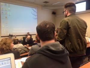 Kristian speaking to UCU meeting on behalf of Coventry Socialist Students