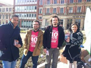 Coventry Socialist Students members campaigning with TUC Young Workers