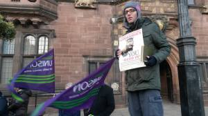 TUSC activist and Socialist Party member Rob McArdle at a protest against library closures