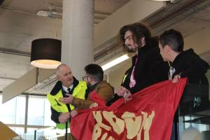 Aidan protesting at Cov Uni