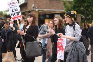 Young people protesting against Tory cuts to their future