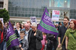 Unison members marching against austerity