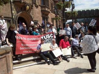 Protesters gather outside the Council House