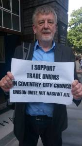 Former Coventry Labour MP and TUSC national chair Dave Nellist supporting council unions