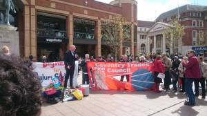 Matt Wrack, general secretary of the FBU, addresses Coventry rally