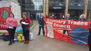 Jane Nellist, secretary of Coventry TUC with Sarah Smith