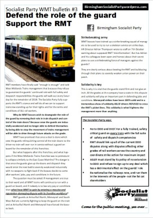West Midlands RMT bulletin - 3a November 2019